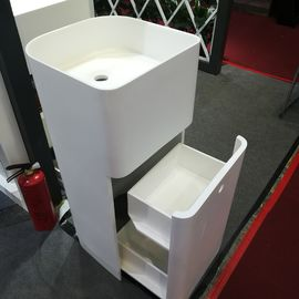 White Resin Freestanding Bathroom Basin Freestanding Pedestal Sink