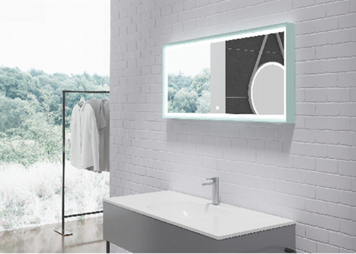 Indoor Silver LED Bathroom Mirror Customized Shape And Color